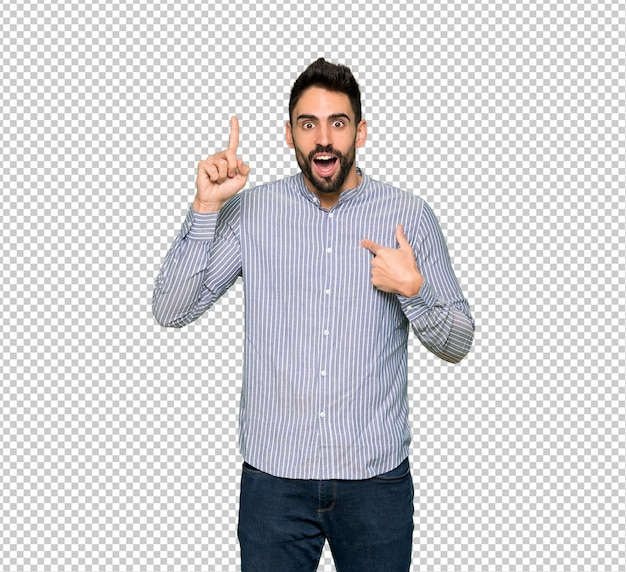 Elegant man with shirt with surprise facial expression Premium Psd