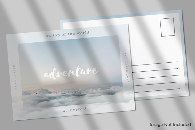 그림자가있는 우아한 엽서 모형 프리미엄 PSD 파일