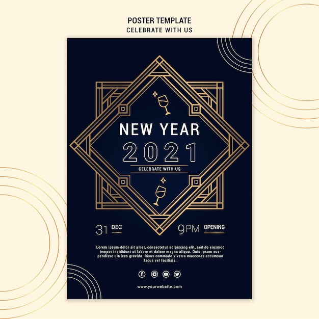 새해 파티를위한 우아한 포스터 템플릿 무료 PSD 파일