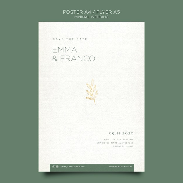Элегантный плакат для свадьбы Бесплатные Psd