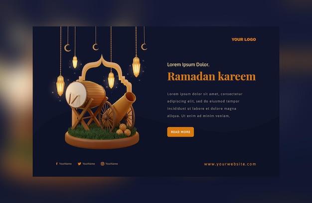 Elegant ramadan mubarak decoration gold arabic lantern festival Premium Psd