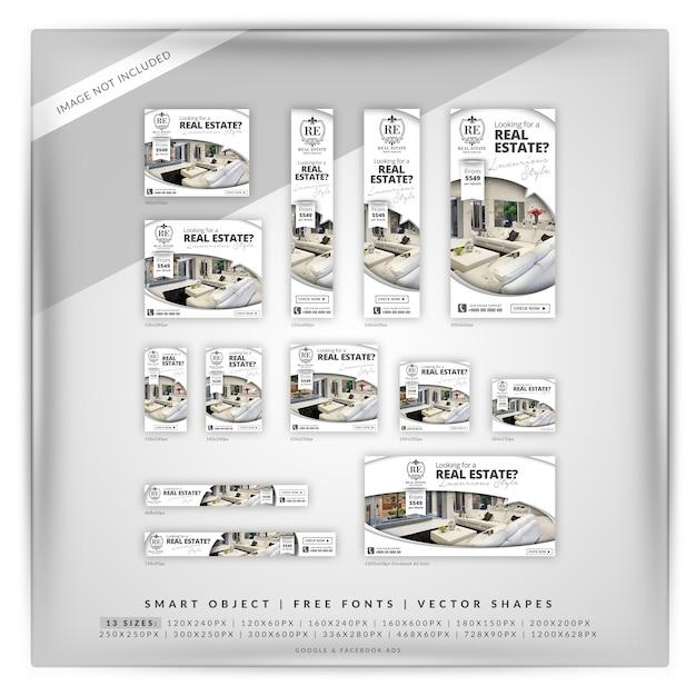 Elegant real estate google banner set Premium Psd