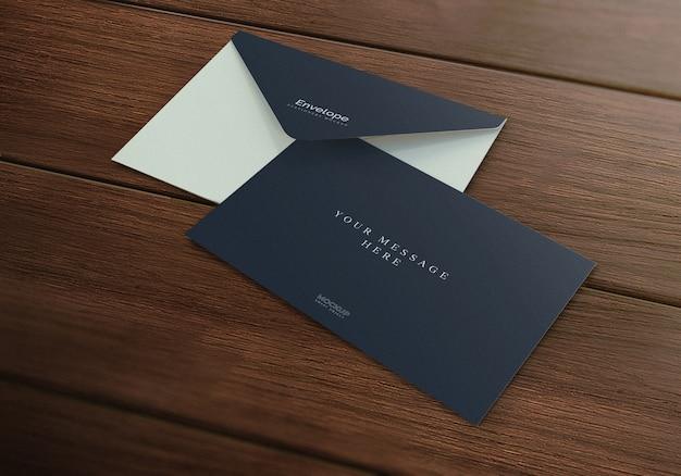 エレガントな現実的な封筒モックアップウッドテクスチャ背景 Premium Psd