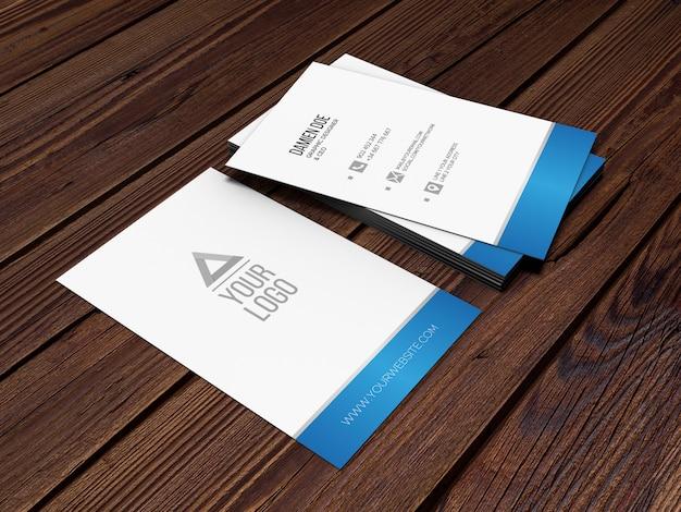 Elegant realistic wood background business card mockup Free Psd
