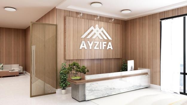 Elegant rustic reception desk with company logo 3d wall mockup Premium Psd