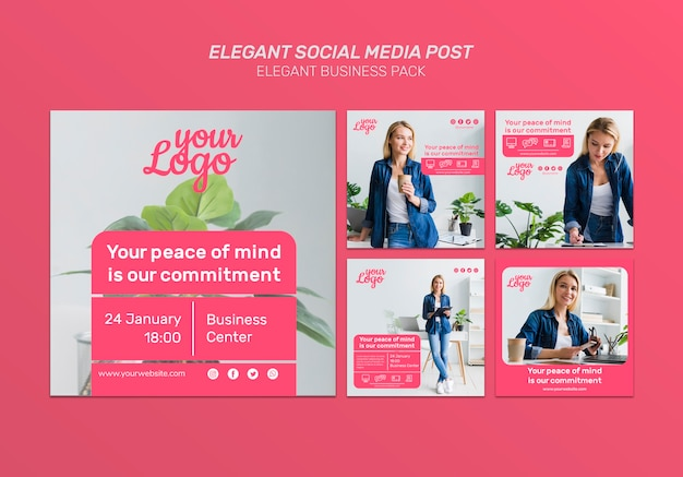 Elegant social media post with female character photos Free Psd