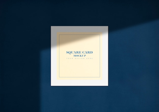 Elegant square card mockup with shadow Free Psd