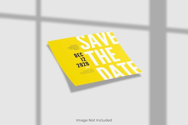 그림자가있는 우아한 사각형 초대장 모형 프리미엄 PSD 파일