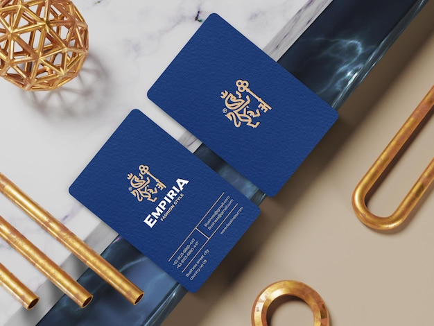 Elegant vertical business card for branding identity mockup