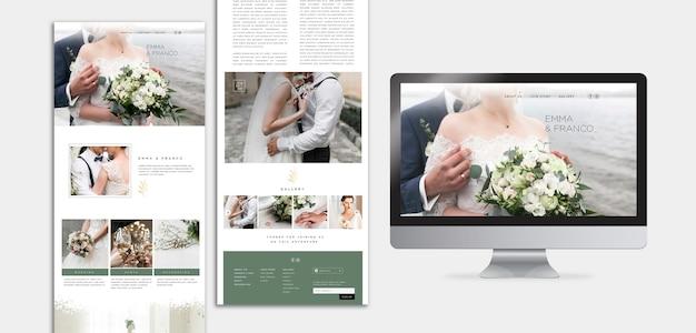 Элегантный веб-шаблон с целевой страницей для свадьбы Бесплатные Psd