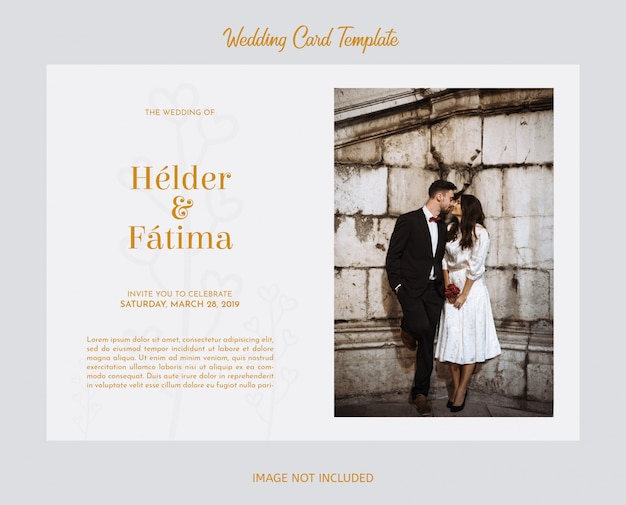 Elegant wedding card template with photography Free Psd