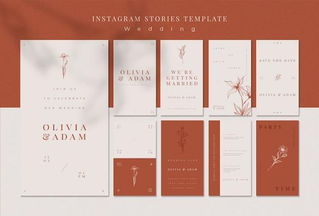 Elegant wedding instagram stories template Free Psd
