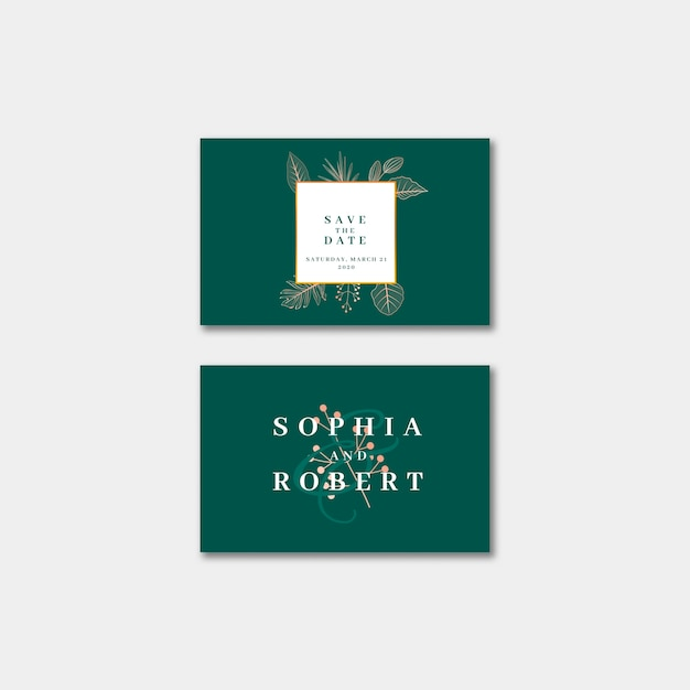 Elegant wedding invitation business card with nature concept Free Psd