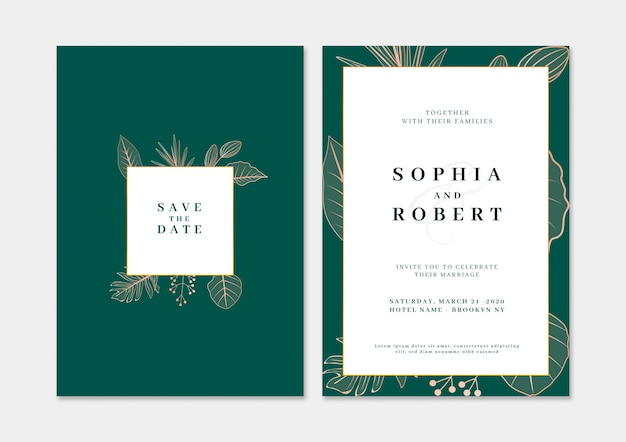 Elegant wedding invitation card with nature concept Free Psd