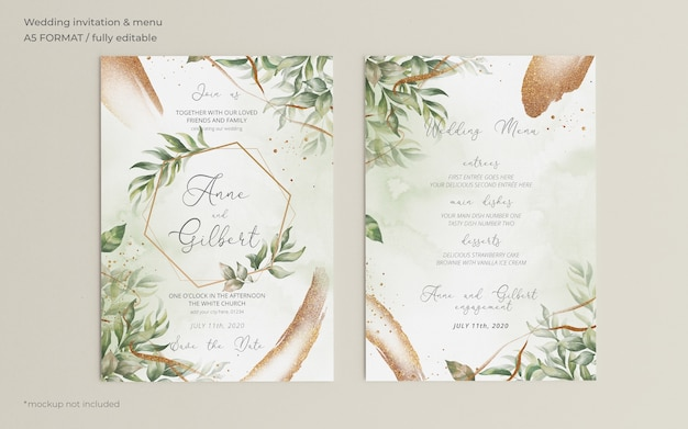 Elegant wedding invitation and menu template with leaves Free Psd