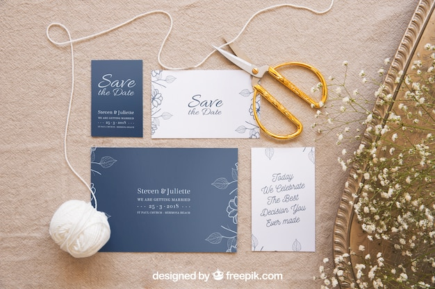 Elegant wedding invitation mockup Free Psd