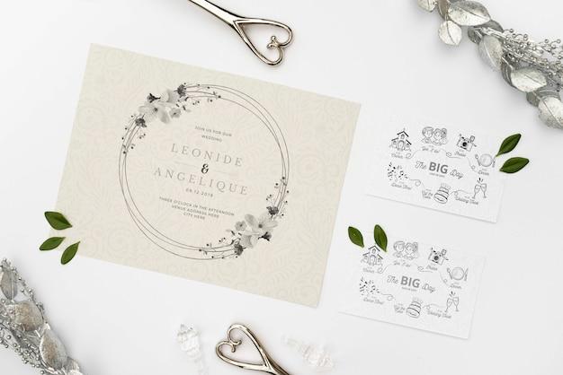 Элегантное свадебное приглашение на стол Бесплатные Psd