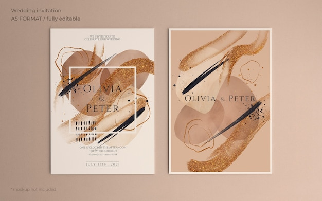 Elegant wedding invitation template with abstract brush strokes Free Psd