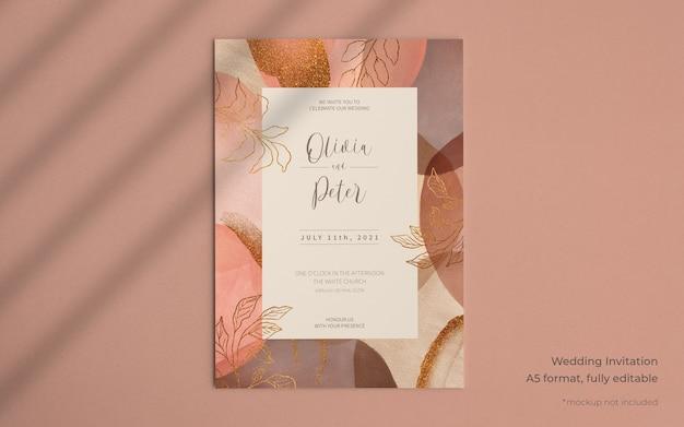 추상 페인트 형태와 우아한 결혼식 초대장 서식 파일 무료 PSD 파일