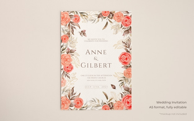 Elegant wedding invitation template with floral decoration Free Psd