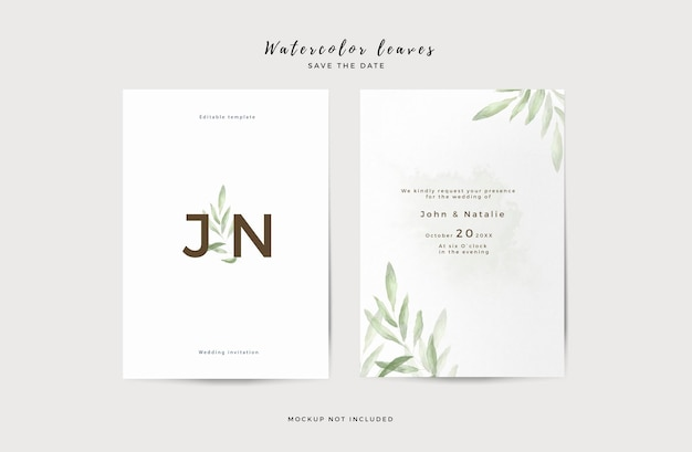 Elegant wedding invitation template with watercolor leaves Free Psd
