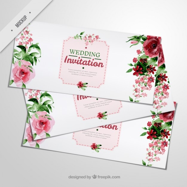 Elegant wedding invitations with watercolor roses and leaves Free Psd