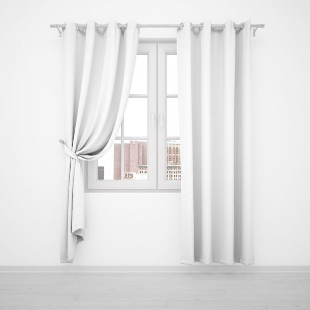 Элегантное окно с белыми шторами на белой стене Бесплатные Psd