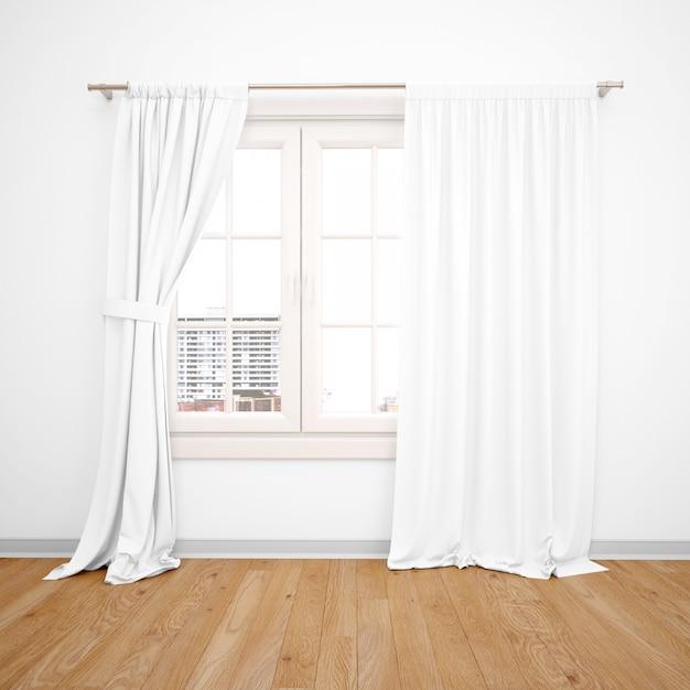 Элегантное окно с белыми занавесками, деревянный пол Бесплатные Psd