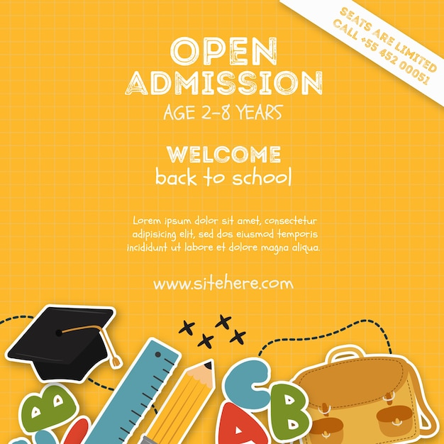 Elementary school admission poster template Free Psd