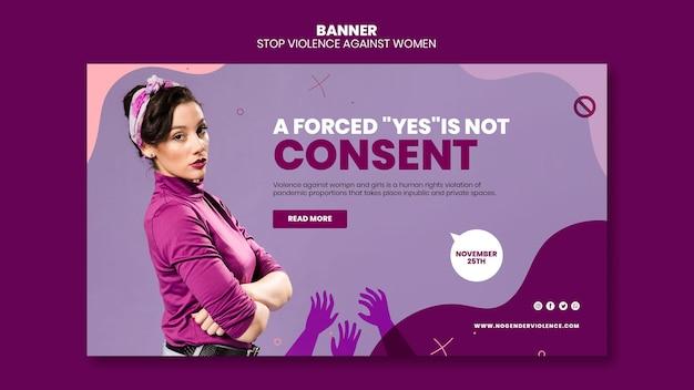 Banner orizzontale di eliminazione della violenza contro le donne Psd Gratuite