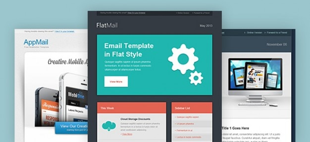 Email newsletter template in clear designs Free Psd