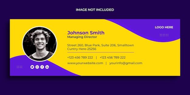 Email signature design or email footer and personal social media cover template Premium Psd