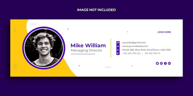 Email signature design, email footer, personal social media cover template Premium Psd