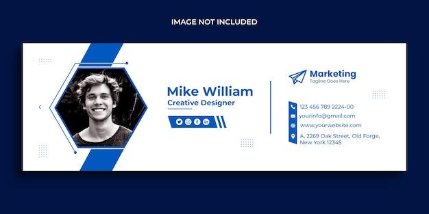メールの署名デザインまたはメールのフッターとパーソナルソーシャルメディアのカバーテンプレート Premium Psd