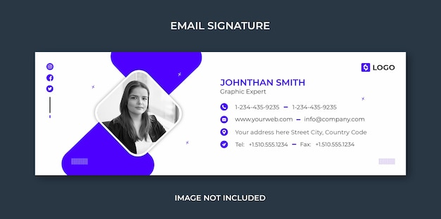 Email signature template design or email footer and personal social media cover template Premium Psd