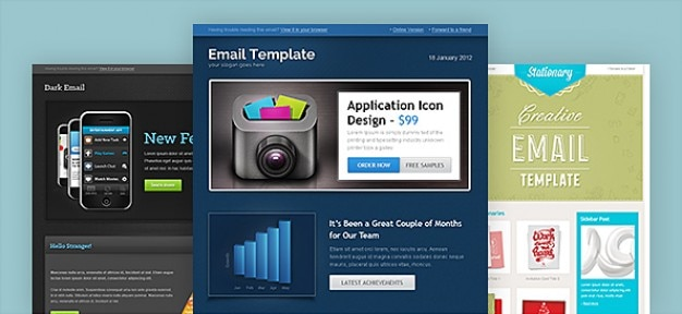Email template in 3 different designs Free Psd