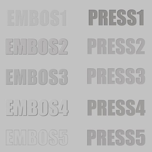 Embos and press layer style for photoshop text effect Premium Psd