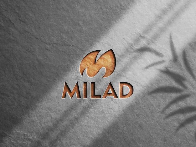 Emboss logo mockup 3d rendering
