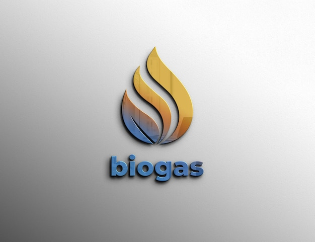 Embossed logo mockup on wall Premium Psd