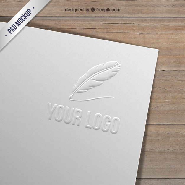 Embossed logo on paper Free Psd