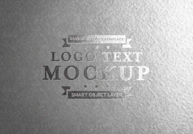Embossed silver text effect on aluminium plate PSD file