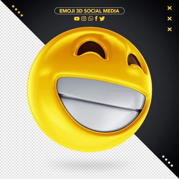 Emoji 3d social media cheerful smile for composition Premium Psd