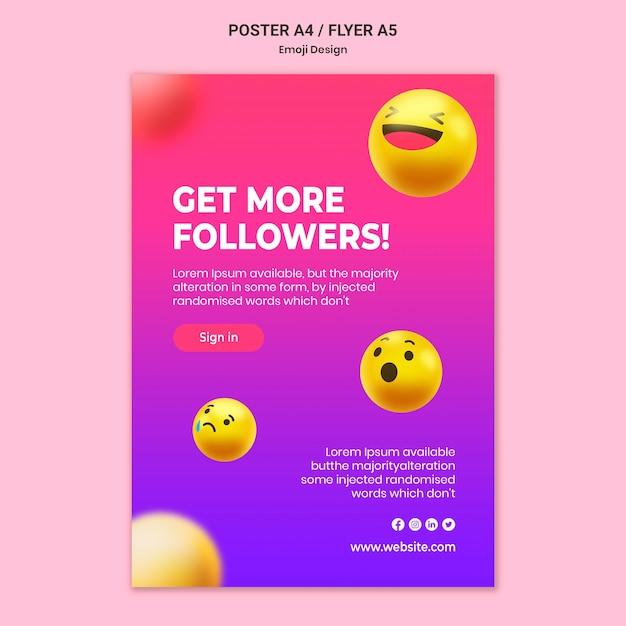 Emoji design poster template Free Psd