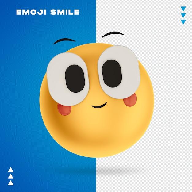 Emoji smile 3d rendering isolated Premium Psd