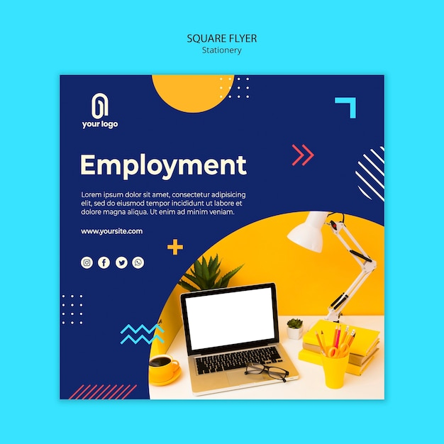 Employment and memphis design square flyer Free Psd
