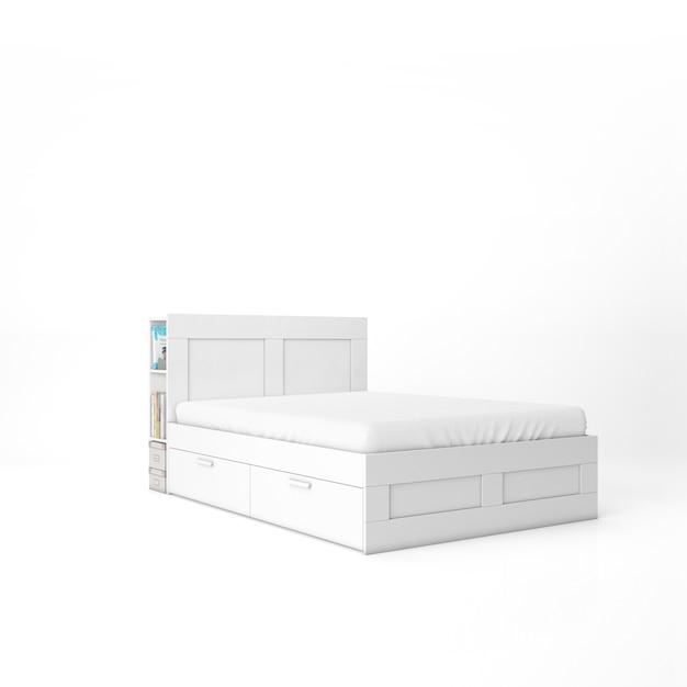 흰색 매트리스 모형 빈 침대 무료 PSD 파일