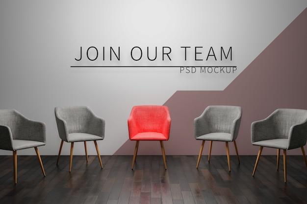 空の椅子と壁紙のモックアップ Premium Psd