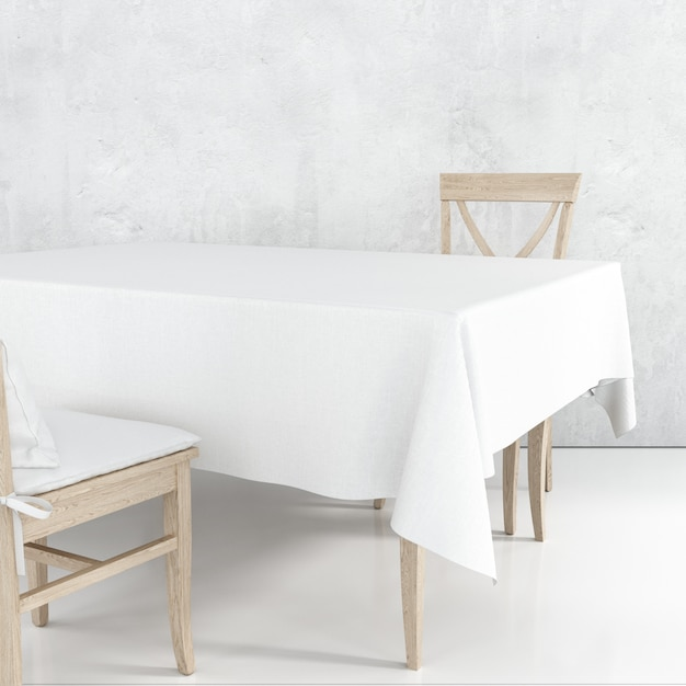 Empty dining table mockup with white cloth and wooden chairs Free Psd