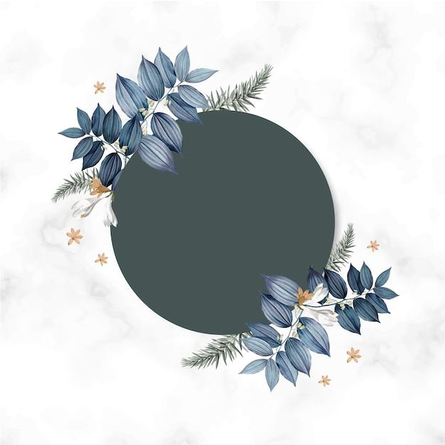 Empty floral card frame design Free Psd