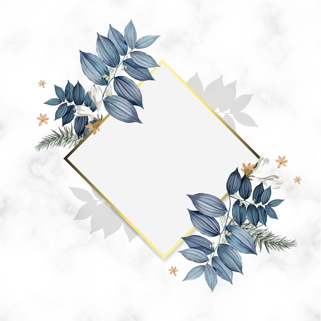 Empty floral golden frame design Free Psd